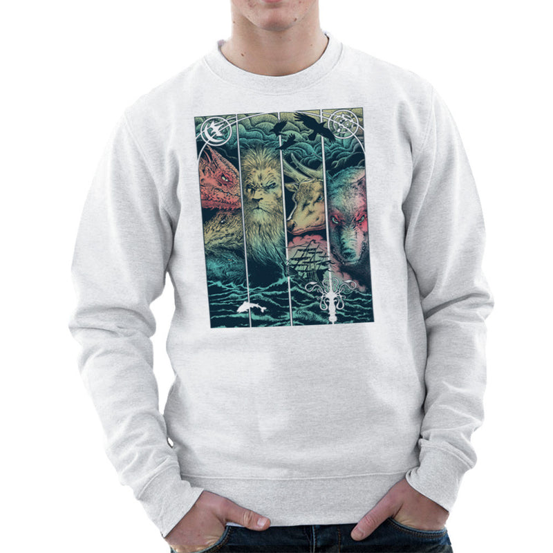 Game of Thrones Animals Dragon Lion Stagg Wolf  Men's Sweatshirt Men's Sweatshirt Cloud City 7 - 6