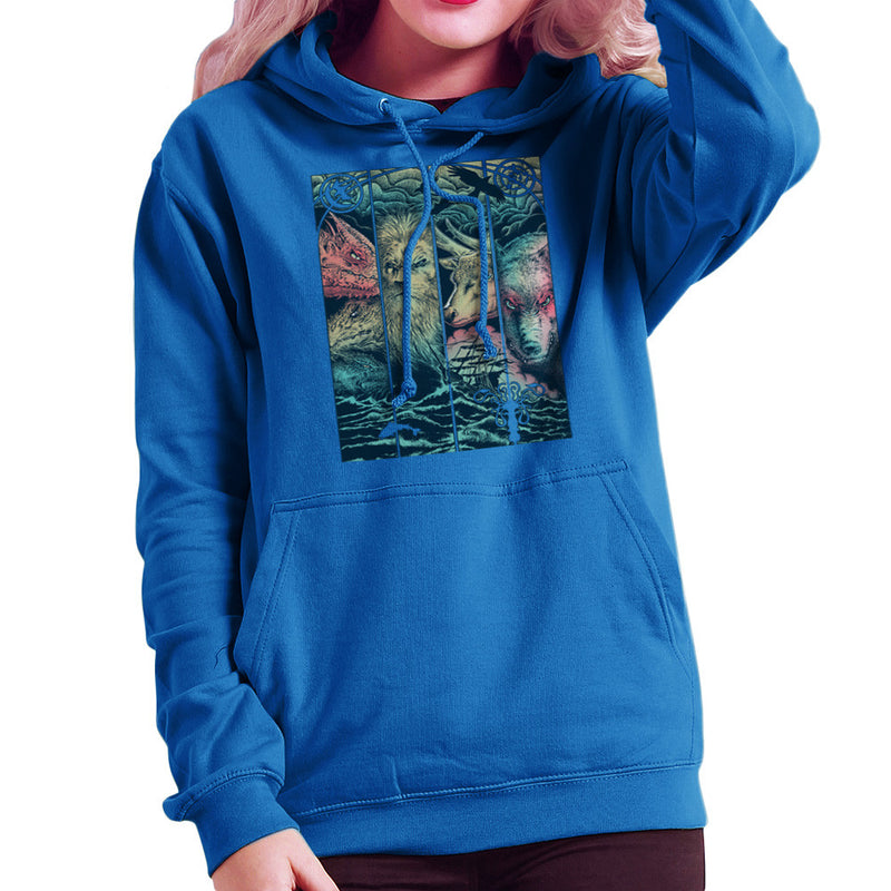 Game of Thrones Animals Dragon Lion Stagg Wolf Women's Hooded Sweatshirt by RicoMambo - Cloud City 7
