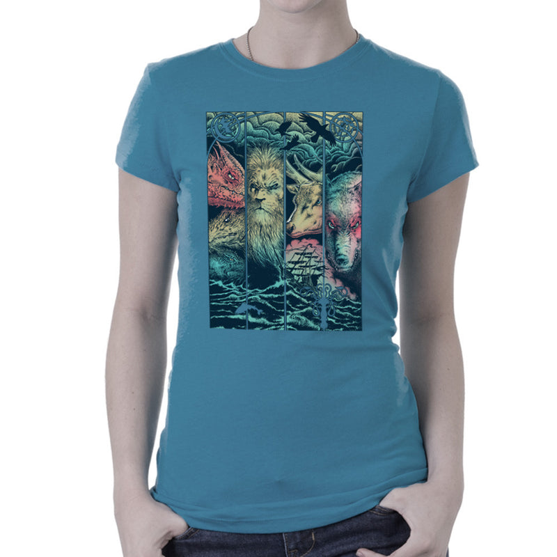 Game of Thrones Animals Dragon Lion Stagg Wolf Women's T-Shirt by RicoMambo - Cloud City 7