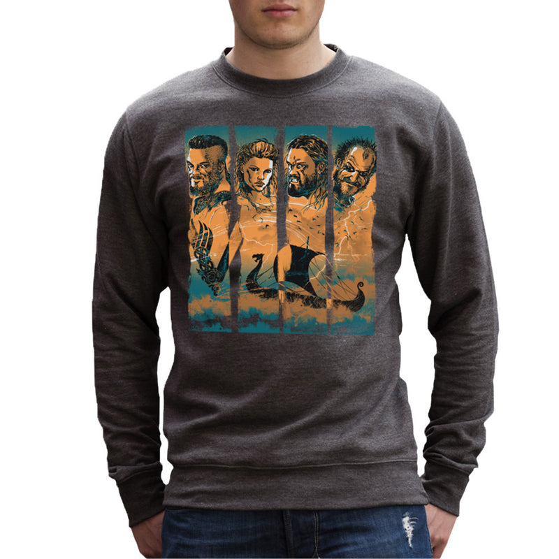 Vikings Ragnor Lothbrok Largertha Rollo Floki Men's Sweatshirt by RicoMambo - Cloud City 7