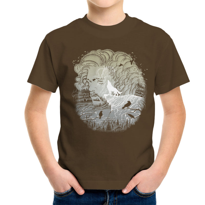 Game of Thrones Jon Snow Winter Wolf Night Sky Howling Moon Kid's T-Shirt by RicoMambo - Cloud City 7
