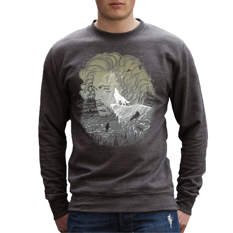 Game of Thrones Jon Snow Winter Wolf Night Sky Howling Moon Men's Sweatshirt by RicoMambo - Cloud City 7
