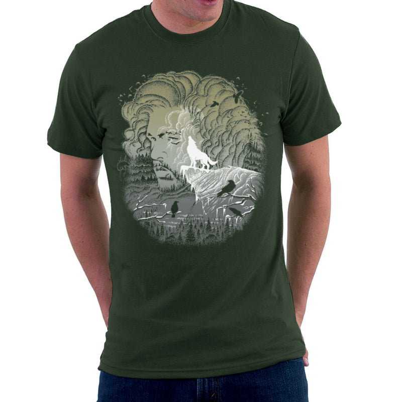 Game of Thrones Jon Snow Winter Wolf Night Sky Howling Moon Men's T-Shirt by RicoMambo - Cloud City 7