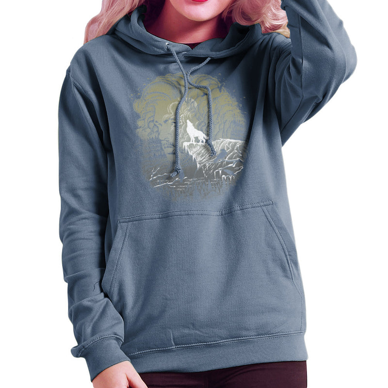 Game of Thrones Jon Snow Winter Wolf Night Sky Howling Moon Women's Hooded Sweatshirt by RicoMambo - Cloud City 7