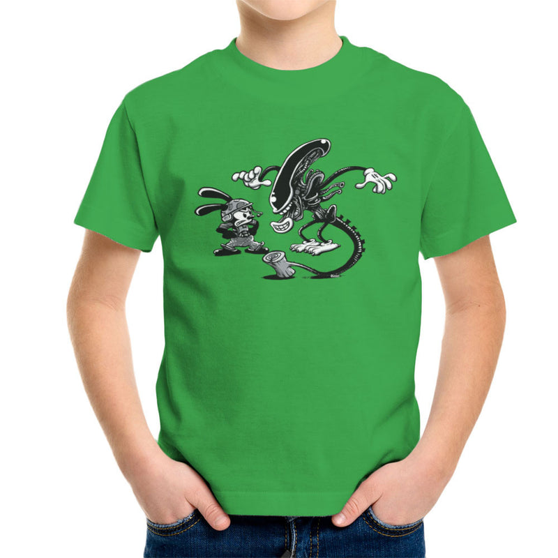 Oswald the Lucky Rabbit Vs Alien Kid's T-Shirt by Bleee - Cloud City 7