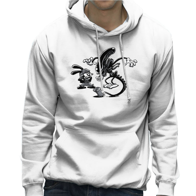 Oswald the Lucky Rabbit Vs Alien Men's Hooded Sweatshirt by Bleee - Cloud City 7