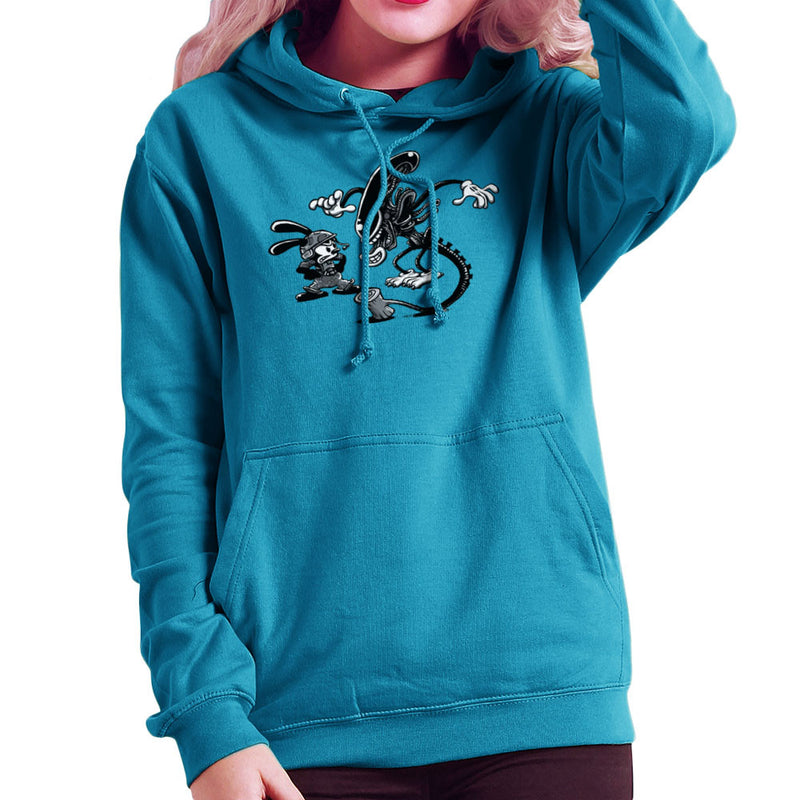 Oswald the Lucky Rabbit Vs Alien Women's Hooded Sweatshirt by Bleee - Cloud City 7