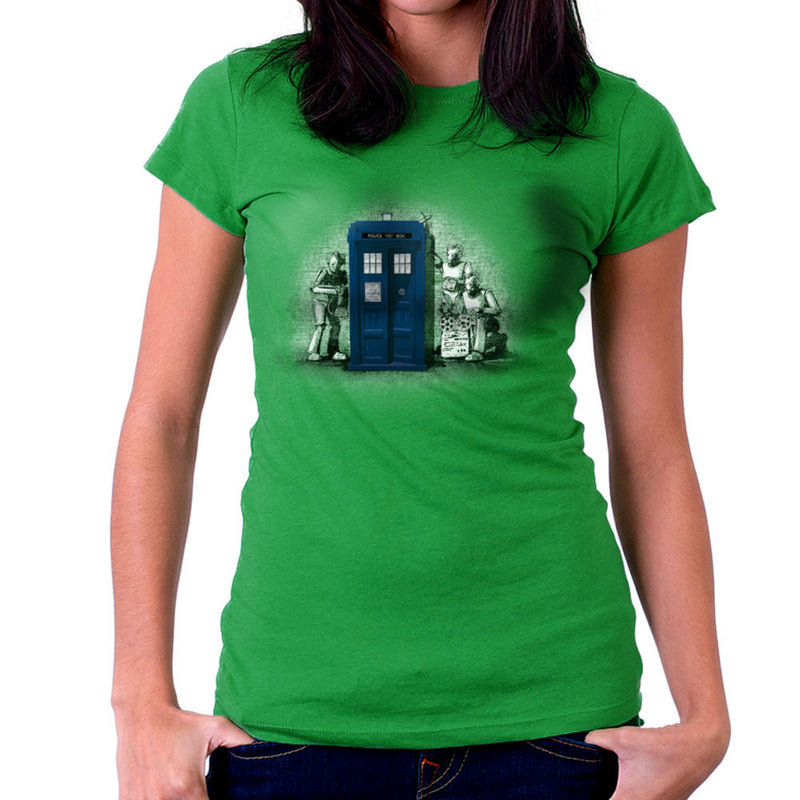 BankCy Doctor Who Tardis Cybermen Street Art Women's T-Shirt by Bleee - Cloud City 7