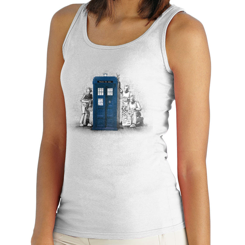 BankCy Doctor Who Tardis Cybermen Street Art Women's Vest by Bleee - Cloud City 7