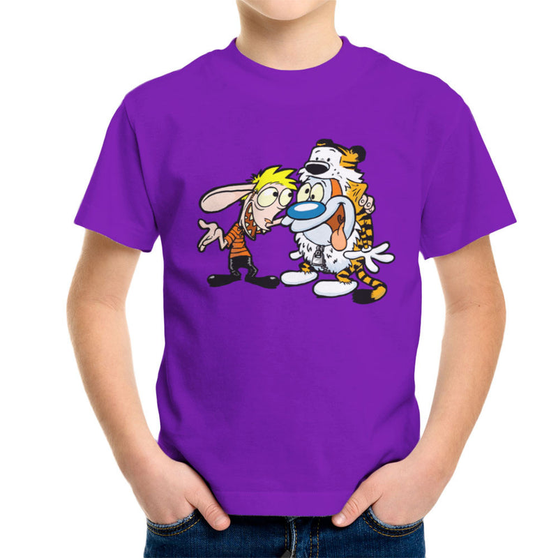 Ren and Stimpy Calvin and Hobbes Costumes Kid's T-Shirt by Bleee - Cloud City 7