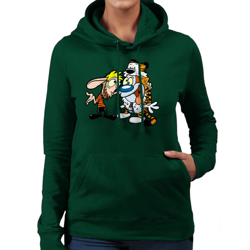 Ren and Stimpy Calvin and Hobbes Costumes Women's Hooded Sweatshirt by Bleee - Cloud City 7