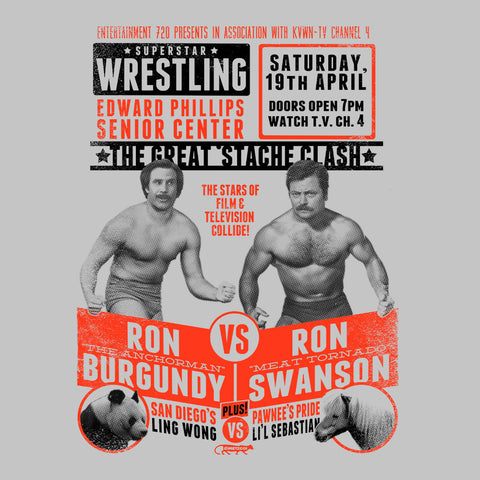 Superstar Wrestling Ron Swanson Vs Ron Burgundy Anchorman Parks and Rec