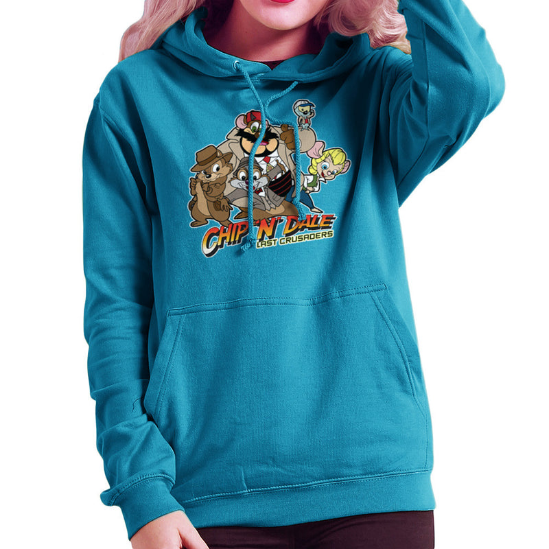 Chip N Dale Last Crusaders Indiana Jones Rescue Rangers Women's Hooded Sweatshirt by TopNotchy - Cloud City 7