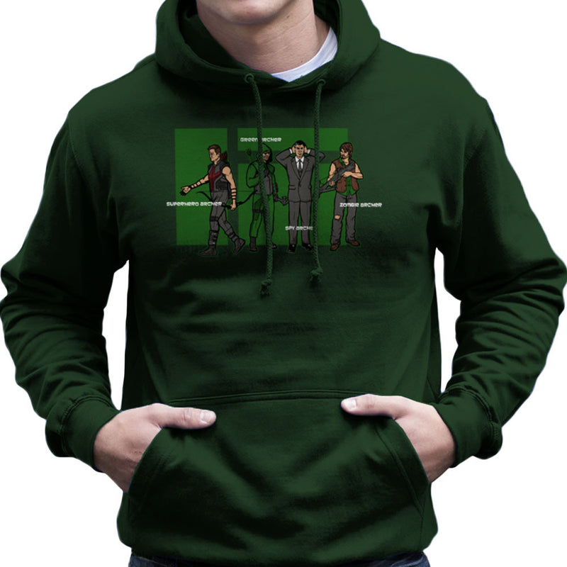 Archer Confusion Superhero Green Spy Zombie Men's Hooded Sweatshirt Men's Hooded Sweatshirt Cloud City 7 - 13