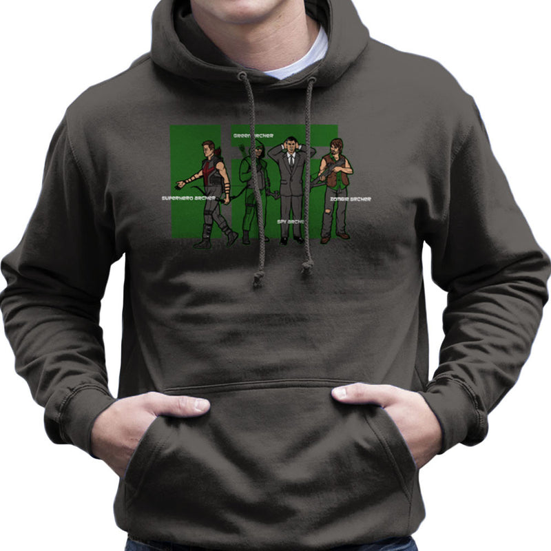 Archer Confusion Superhero Green Spy Zombie Men's Hooded Sweatshirt Men's Hooded Sweatshirt Cloud City 7 - 4