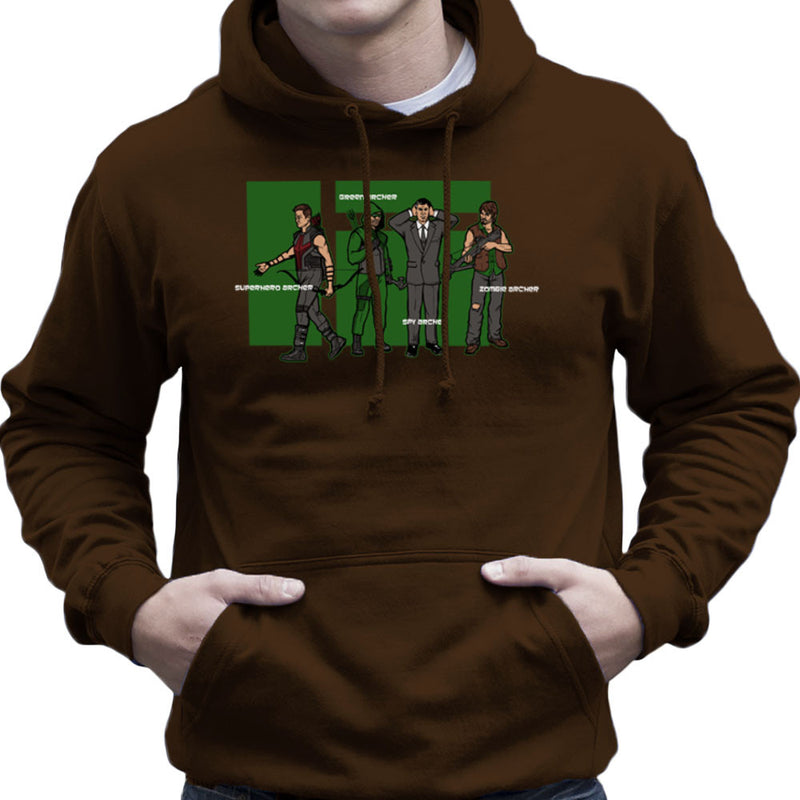 Archer Confusion Superhero Green Spy Zombie Men's Hooded Sweatshirt Men's Hooded Sweatshirt Cloud City 7 - 12