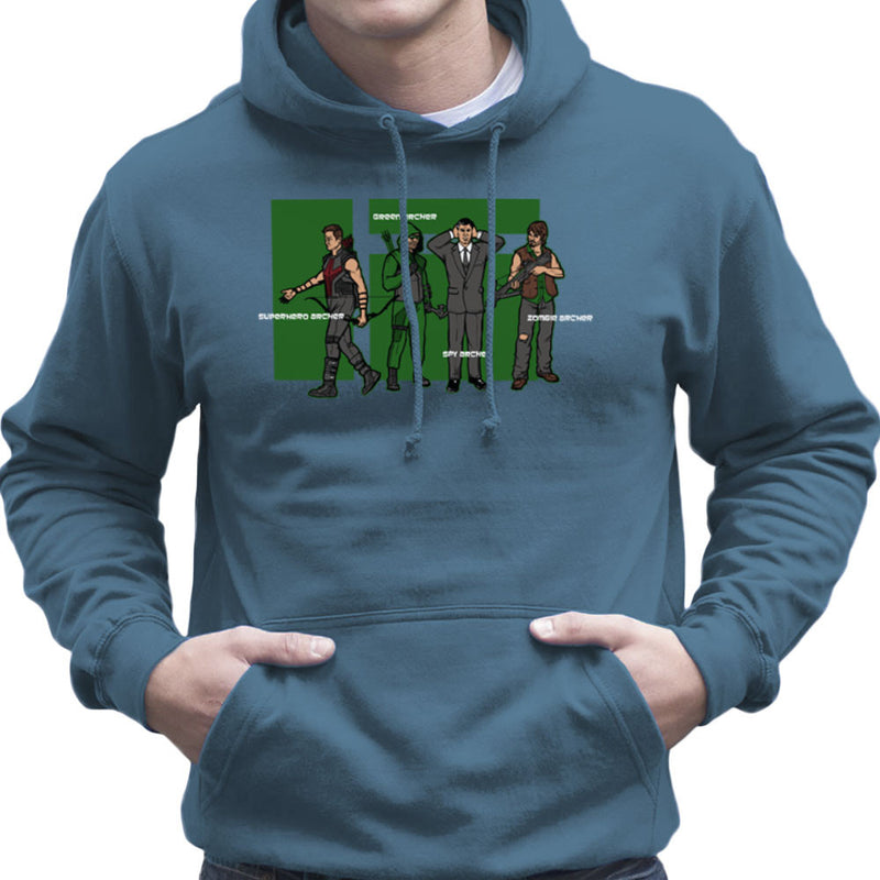 Archer Confusion Superhero Green Spy Zombie Men's Hooded Sweatshirt Men's Hooded Sweatshirt Cloud City 7 - 9