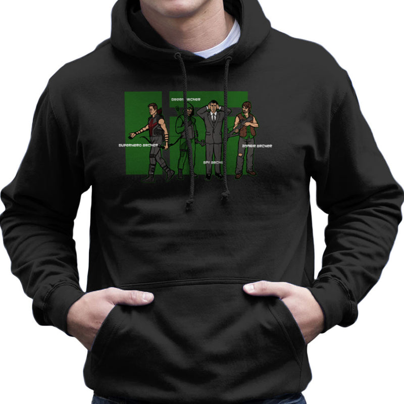 Archer Confusion Superhero Green Spy Zombie Men's Hooded Sweatshirt Men's Hooded Sweatshirt Cloud City 7 - 1