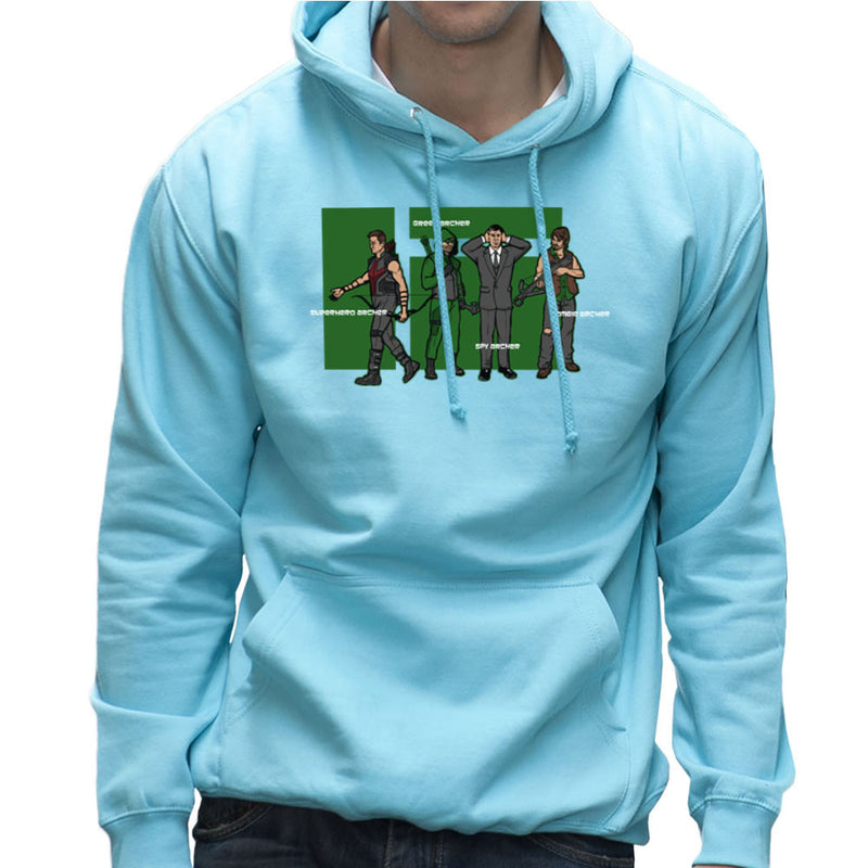 Archer Confusion Superhero Green Spy Zombie Men's Hooded Sweatshirt Men's Hooded Sweatshirt Cloud City 7 - 11