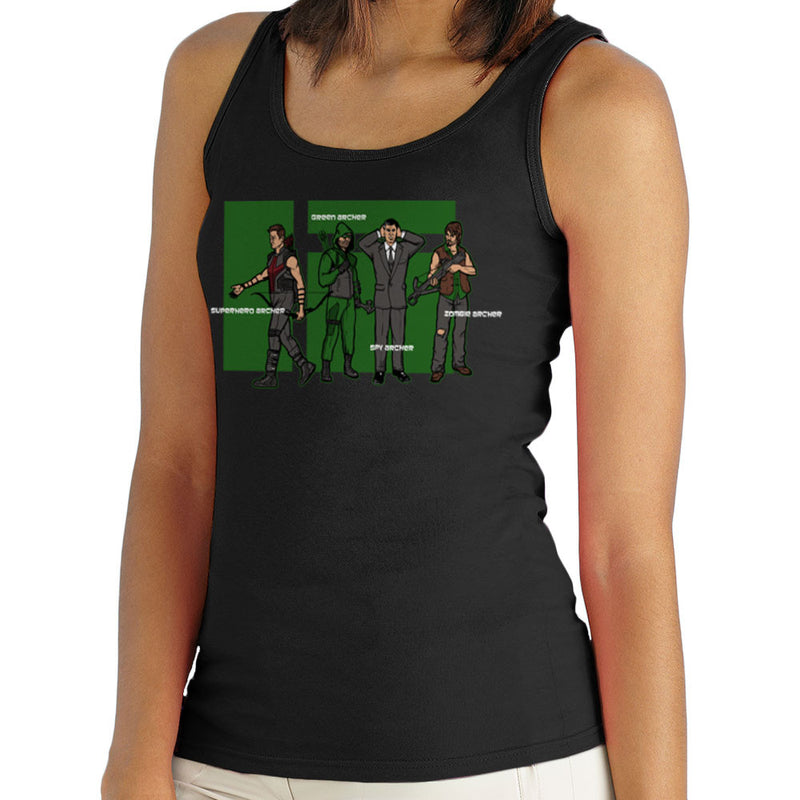 Archer Confusion Superhero Green Spy Zombie Women's Vest by AndreusD - Cloud City 7