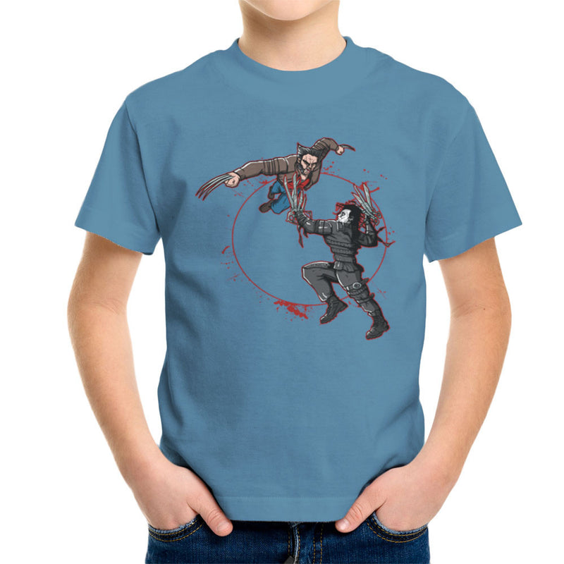 Blood Equinox Wolverine Vs Edward Scissorhands Kid's T-Shirt by AndreusD - Cloud City 7
