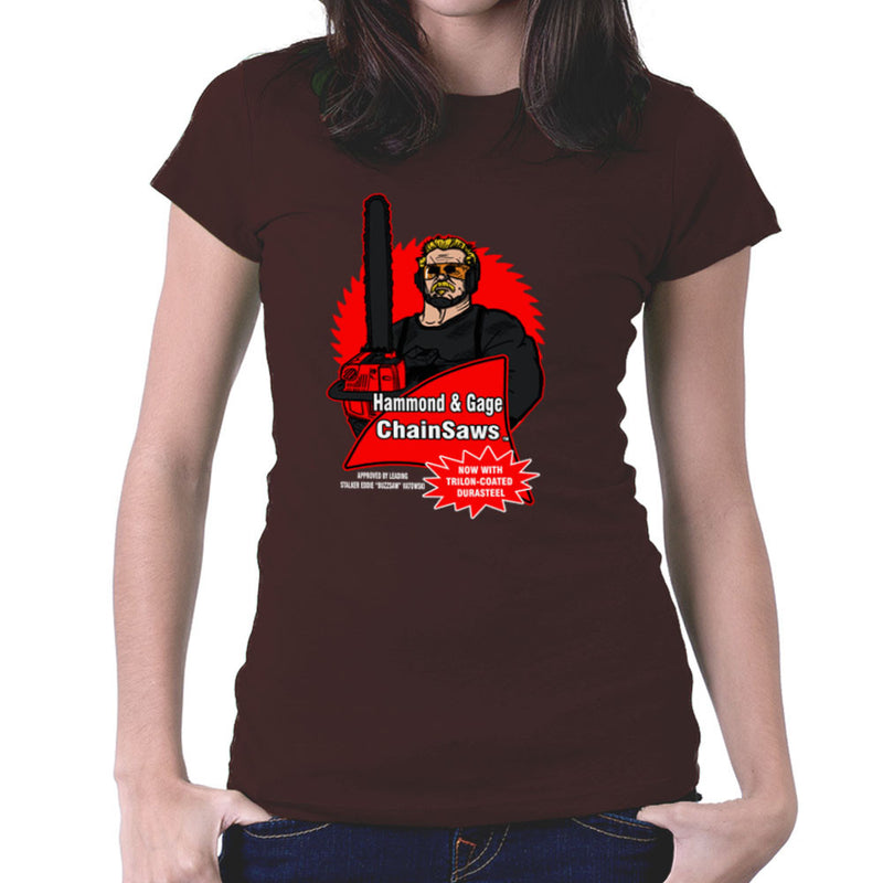 Hammond and Gage Chainsaws Buzzsaw Running Man Women's T-Shirt by AndreusD - Cloud City 7