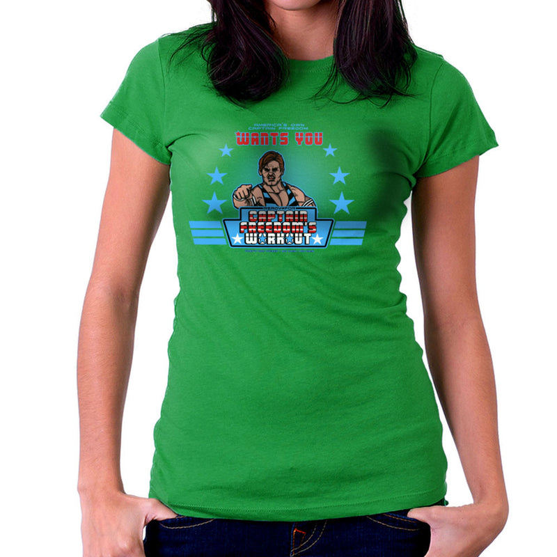 Captain Freedoms Workout Running Man Women's T-Shirt by AndreusD - Cloud City 7