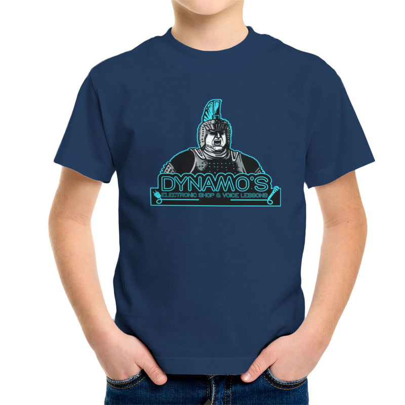 Dynamos Electronic Shop and Voice Lessons Running Man Kid's T-Shirt by AndreusD - Cloud City 7