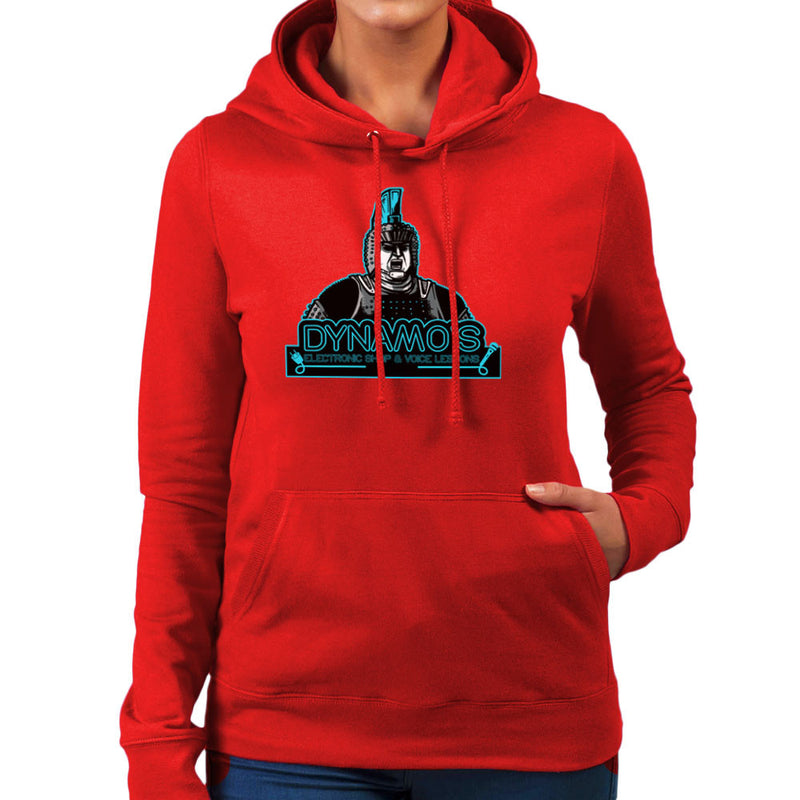 Dynamos Electronic Shop and Voice Lessons Running Man Women's Hooded Sweatshirt by AndreusD - Cloud City 7