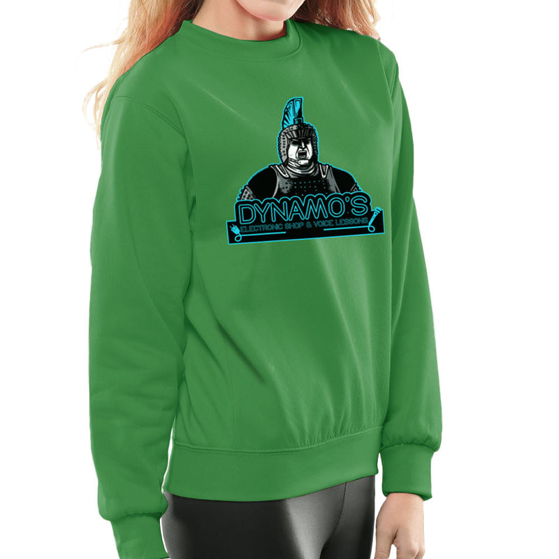 Dynamos Electronic Shop and Voice Lessons Running Man Women's Sweatshirt by AndreusD - Cloud City 7