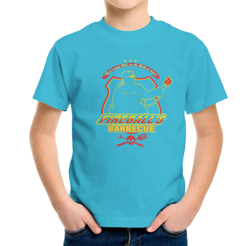 Fireballs BBQ Running Man Kid's T-Shirt by AndreusD - Cloud City 7