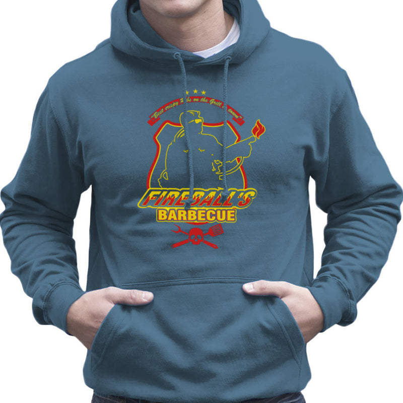 Fireballs BBQ Running Man Men's Hooded Sweatshirt by AndreusD - Cloud City 7