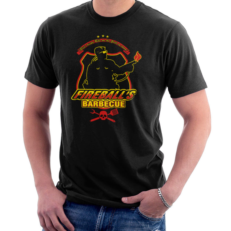 Fireballs BBQ Running Man Men's T-Shirt by AndreusD - Cloud City 7
