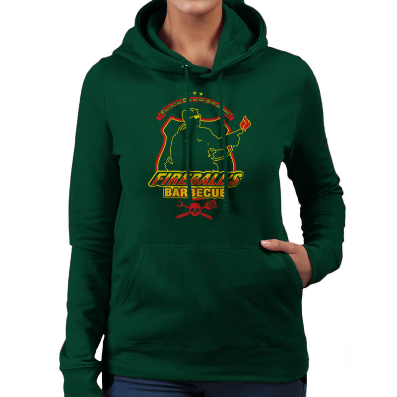 Fireballs BBQ Running Man Women's Hooded Sweatshirt by AndreusD - Cloud City 7