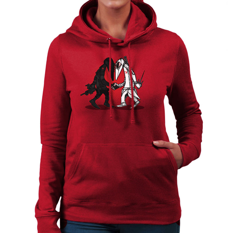 Ninja Vs Ninja Snake Eyes Vs Storm Shadow Spy Vs Spy GI Joe Women's Hooded Sweatshirt by AndreusD - Cloud City 7