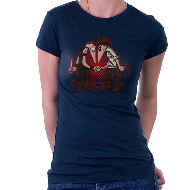 Raider Vs Priest Indiana Jones Vs Mola Ram Temple of Doom Spy Vs Spy Women's T-Shirt by AndreusD - Cloud City 7