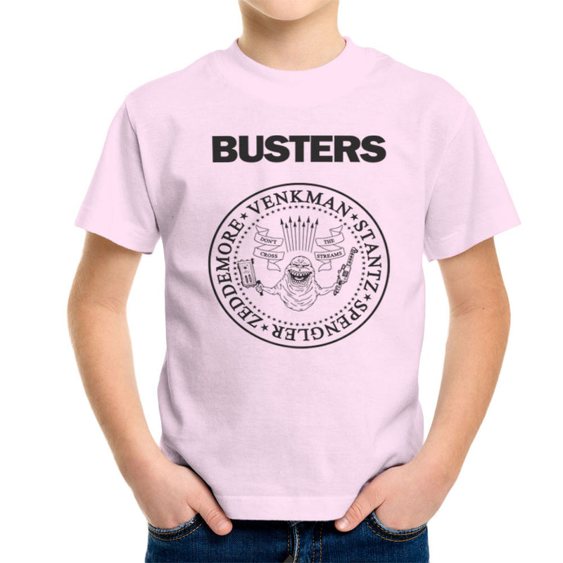 Ramones Busters Slimer Ghostbusters Logo Black Kid's T-Shirt by Chris Stringer - Cloud City 7