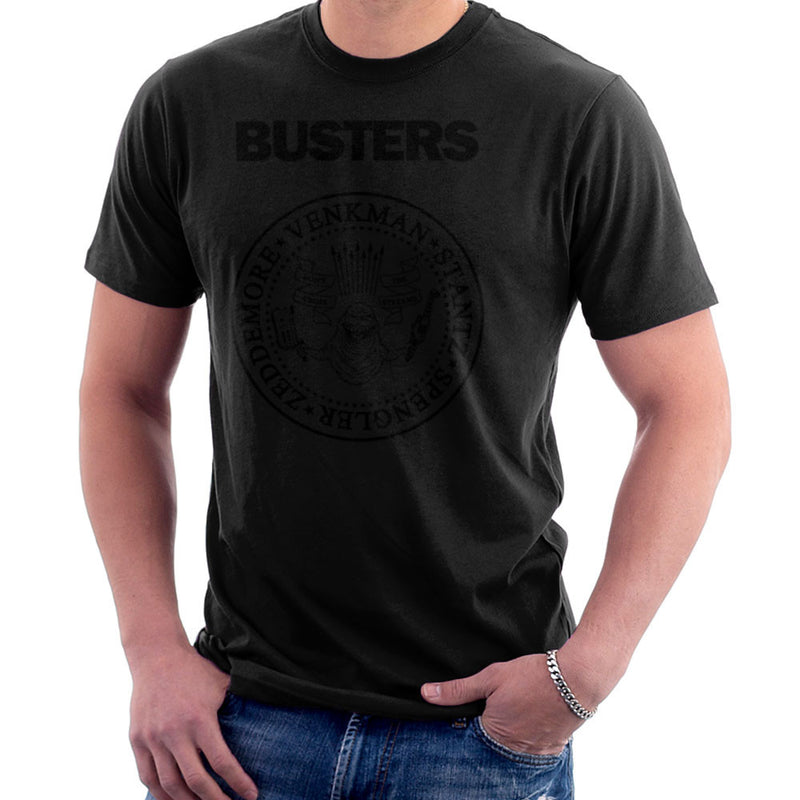 Ramones Busters Slimer Ghostbusters Logo Black Men's T-Shirt Men's T-Shirt Cloud City 7 - 2
