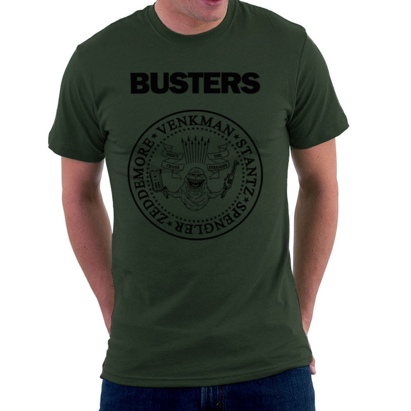 Ramones Busters Slimer Ghostbusters Logo Black Men's T-Shirt Men's T-Shirt Cloud City 7 - 13