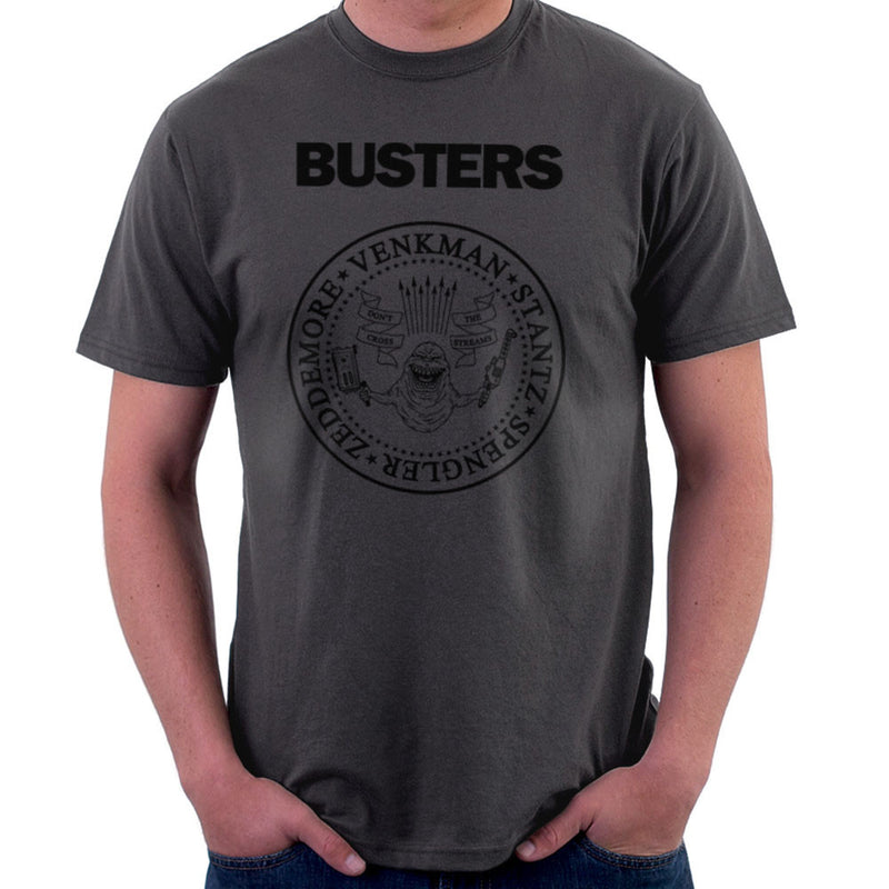 Ramones Busters Slimer Ghostbusters Logo Black Men's T-Shirt Men's T-Shirt Cloud City 7 - 4