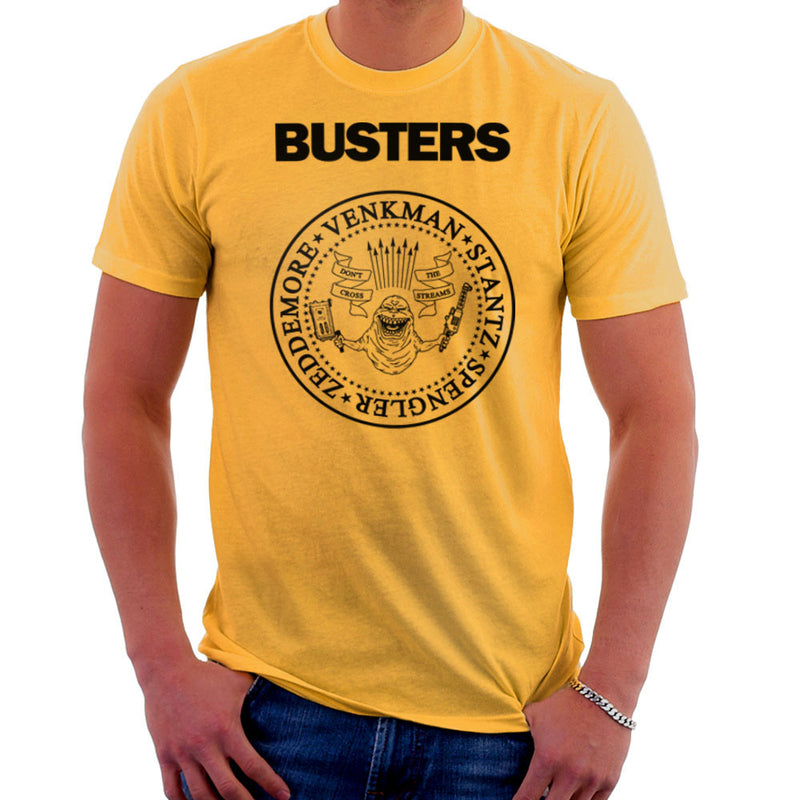 Ramones Busters Slimer Ghostbusters Logo Black Men's T-Shirt Men's T-Shirt Cloud City 7 - 18