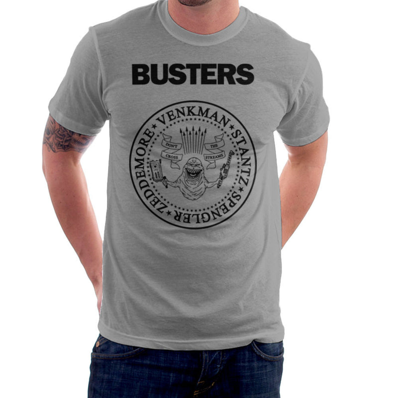 Ramones Busters Slimer Ghostbusters Logo Black Men's T-Shirt Men's T-Shirt Cloud City 7 - 5