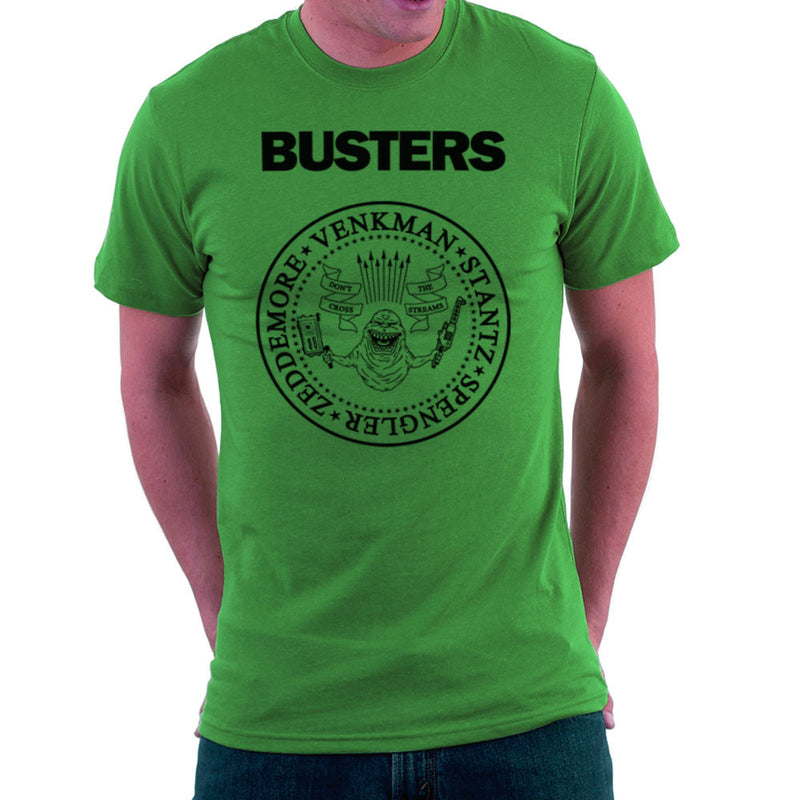 Ramones Busters Slimer Ghostbusters Logo Black Men's T-Shirt Men's T-Shirt Cloud City 7 - 14