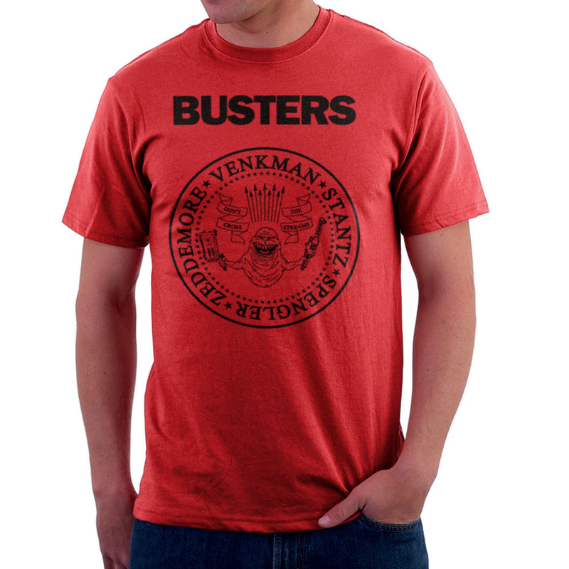 Ramones Busters Slimer Ghostbusters Logo Black Men's T-Shirt Men's T-Shirt Cloud City 7 - 16