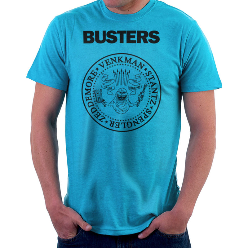 Ramones Busters Slimer Ghostbusters Logo Black Men's T-Shirt Men's T-Shirt Cloud City 7 - 10