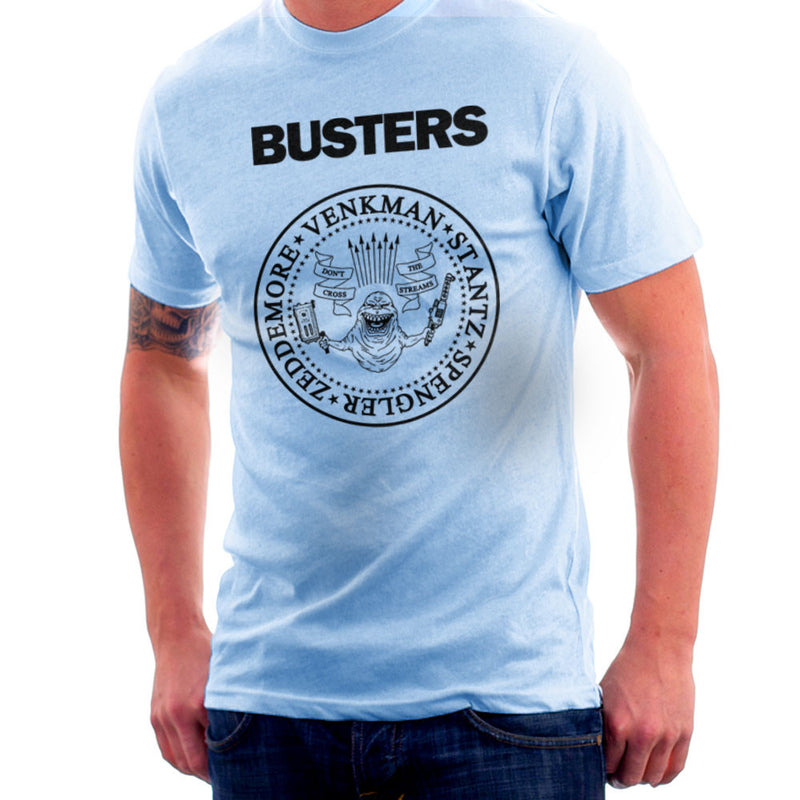 Ramones Busters Slimer Ghostbusters Logo Black Men's T-Shirt Men's T-Shirt Cloud City 7 - 11