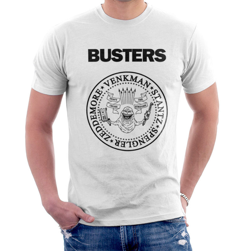 Ramones Busters Slimer Ghostbusters Logo Black Men's T-Shirt by Chris Stringer - Cloud City 7