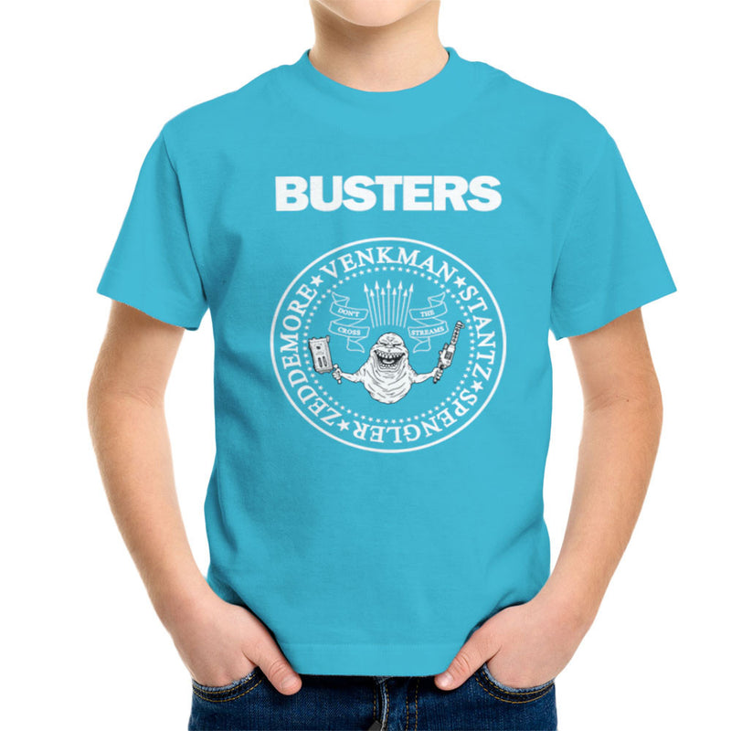 Ramones Busters Slimer Ghostbusters Logo White Kid's T-Shirt by Chris Stringer - Cloud City 7