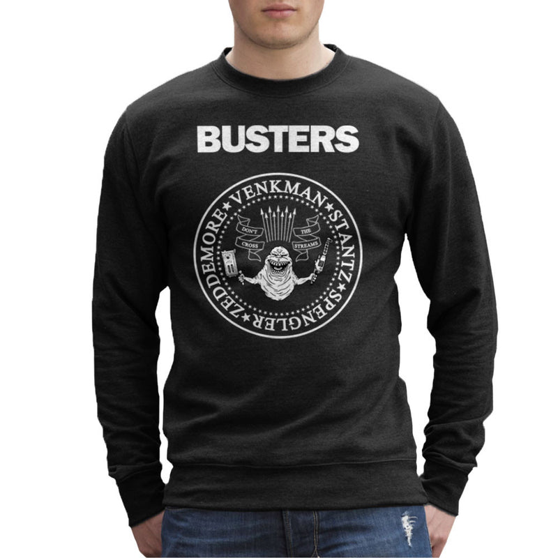 Ramones Busters Slimer Ghostbusters Logo White Men's Sweatshirt Men's Sweatshirt Cloud City 7 - 2