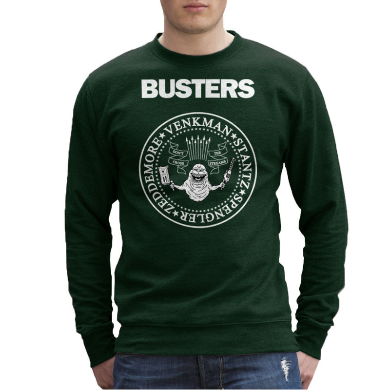 Ramones Busters Slimer Ghostbusters Logo White Men's Sweatshirt Men's Sweatshirt Cloud City 7 - 13